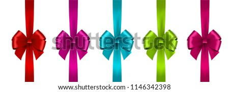 Set of Shiny satin ribbon on white background. Vector bow and ribbon.