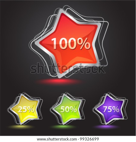 Set of shiny star icons in different color. Professional vector icons.