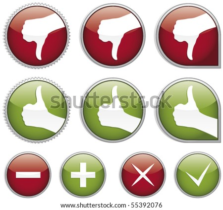 Set of shiny thumbs up buttons