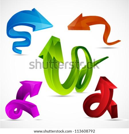 Set of Shiny vector 3D Arrows,  EPS10