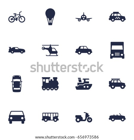 Set Of 16 Shipping Icons Set.Collection Of Autobus, Helicopter And Other Elements.