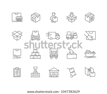 Set of Shipping outline icons isolated on white background.