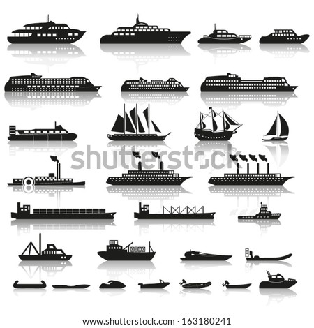 set of ships and boats