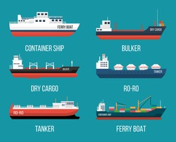 Set of ships in modern flat style. High quality delivery and shipping boats illustration. Set of container ship, bulker, ro-ro, tanker, dry cargo, ferry boat.