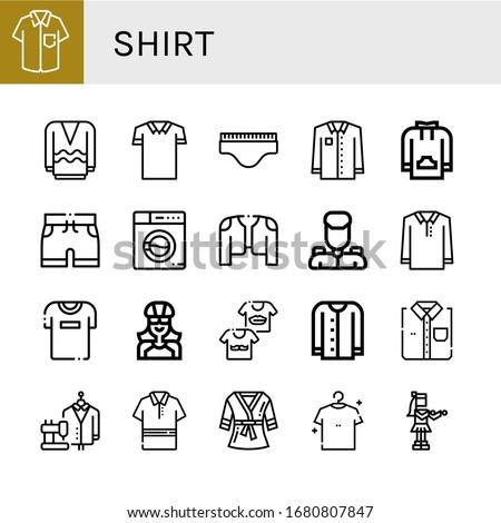 Set of shirt icons. Such as Shirt, Long sleeve, Polo shirt, Underwear, Sweatshirt, Shorts, Washing machine, Coat, Military, Tshirt, Biker, Shirts, Cardigan, Suit , icons