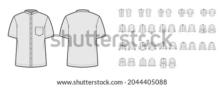 Set of Shirts mandarin turtleneck collar technical fashion illustration with long short elbow sleeves with cuff. Flat apparel top outwear template front, back grey color. Women, men, unisex CAD mockup Foto d'archivio ©
