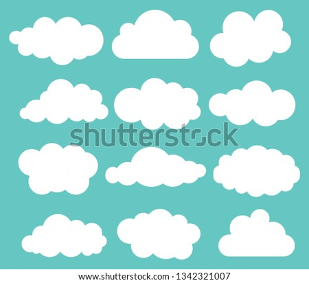 Set of shite sky, clouds. Cloud icon, cloud shape. Set of different clouds. Collection of cloud, shape, label, symbol. Graphic element vector. Vector design element for web and print.