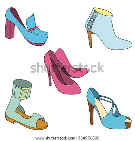 Set of shoes on white background. #334976828