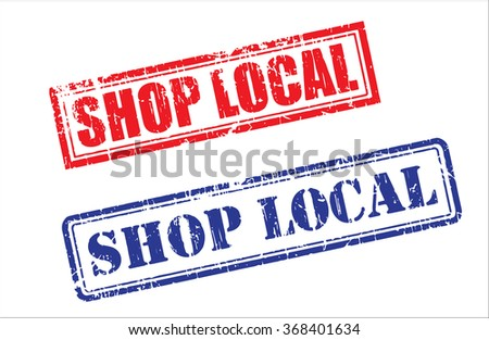 Set of SHOP LOCAL grunge realistic rubber stamps, different ink colors, different forms, isolated on white background, vector illustration