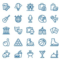 Set of shopping and entertainment icons. Vector illustration