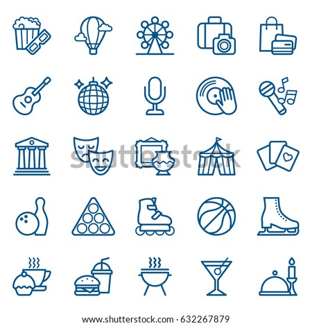 Set of shopping and entertainment icons. Vector illustration ストックフォト ©