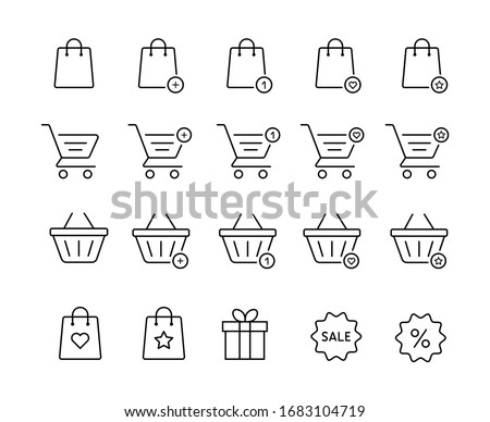 Set of Shopping bag and baslet icons for online store. Web Shop linear signs.