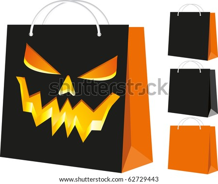 Set of shopping bags: black and orange, and with the Halloween pattern, part 3, vector illustration