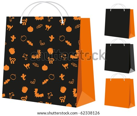 Set of shopping bags: black and orange, and with the Halloween pattern, vector illustration