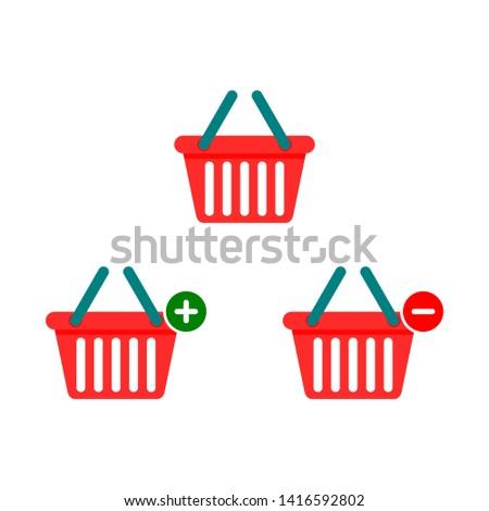 set of shopping basket icons isolated on white background. vector Illustration.