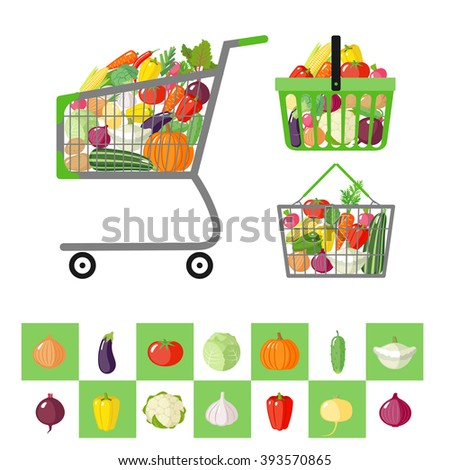 Set of shopping cart and shopping baskets with vegetables in flat style. Organic food. Natural food. Isolated objects. Vector illustration