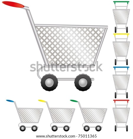 Set of shopping cart for on-line shop, icon for e-commerce, vector illustration - stock vector