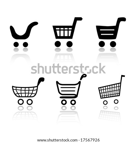 Set of 6 shopping cart icon variations