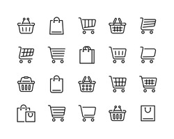 Set of shopping cart icons. Collection of web icons for online store, from various cart icons in various shapes. Editable vector stroke 96x96 Pixel Perfect.