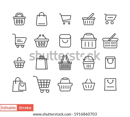 Set of shopping cart line icons. Simple outline style for web template and app. Online store, shop basket, bag concept. Vector illustration isolated on white background. Editable stroke EPS 10