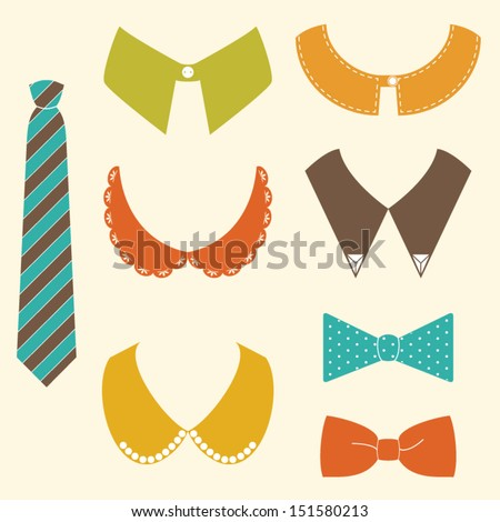 Set of shopping fashion hipster icons.vector illustration