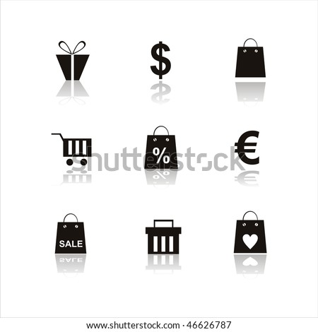 set of 9 shopping icons
