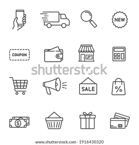 Set of shopping icons in line style. Сollection of web icons for online store, such as discounts, delivery, magnifying glass, payment, app store, coupon, shopping cart. Editable vector illustration