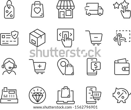 set of shopping online icons, ecommerce, shop, sale Foto stock ©