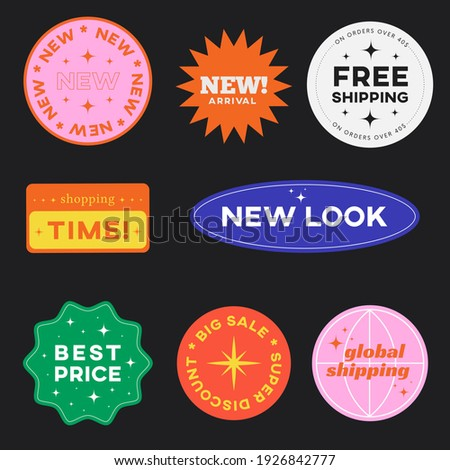 Set of Shopping Stickers Retro Design. Cute Sale label badges. Trendy Free Shipping, New Look, Big Sale, Best Price Banners Pack. Vector Illustration.