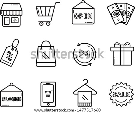 Set of shopping vector icons. Shopping lables for online website and shop. Outline shopping icons. Vector sign simple and modern. Sale, open, shop, money, shopping bag, gift, close, 24, cart.