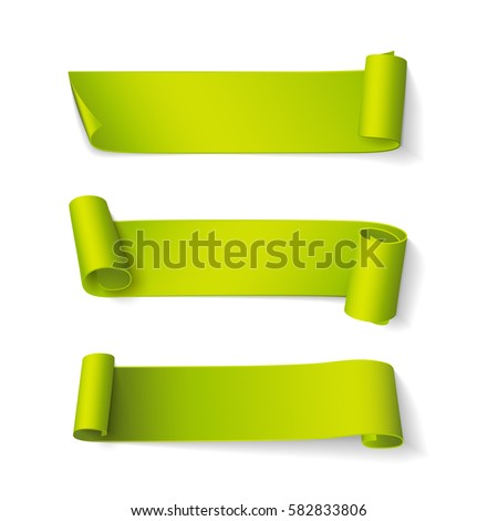 Set of short curved green ribbons. Vector realistic elements for banners and promotional flyers. Isolated from the background.