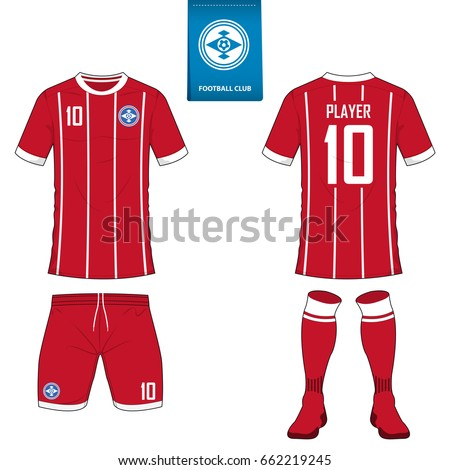 89705d3b0 Set of short sleeve soccer jersey or football kit template for football  club. Football shirt