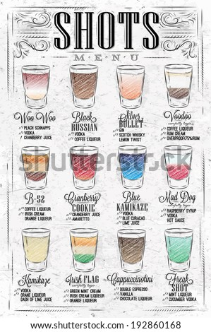 set of shots menu with a drinks