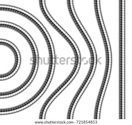 Set of shower hoses. Curved, wavy, arcing straight repeatable shower pipe segments. Vector realistic illustration.
