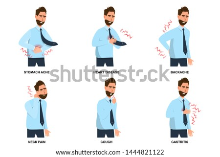 set of sick man stomach ache, heart disease, backache, neck pain, cough and gastritis. vector illustration cartoon character flat style