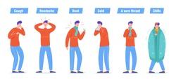 Set of Sick People Characters. Man Patient with Flu, Influenza Symptoms, Virus Disease, Illness Concept. Cold Treatment Process. Cartoon Vector illustration