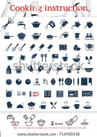 Set of sign for cooking and preparation instructions.Vector elements on white background. Ready for your design.