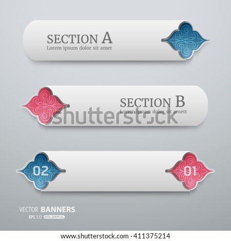 Set of signage banner template with floral elements