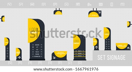 Set of signage vector.Direction,pole, wall mount and traffic signage system design template set.Exterior and interior signage concept. Office exterior monument sign, pylon sign.