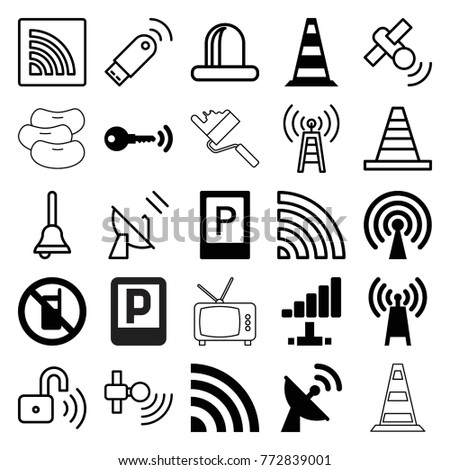 Set of 25 signal filled and outline icons such as parking, no phone, transmitter, signal, satellite, key, cone, siren, wi-fi, bell, opened security lock, usb signal