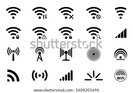 Set of Signal icons. Network signal or Internet Icon. Wireless technology icons. WIFI icons. Wifi signal strength. Radio signals waves and light rays, radar, wifi, antenna and satellite signal symbols