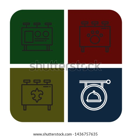 Set of signboard icons such as Billboard, Signboard , signboard