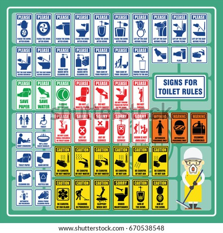 Set of Signs and Symbols of Toilet Rules and Toilet Safety Regulations