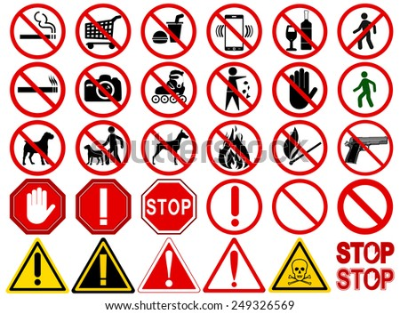 set of  signs for different
