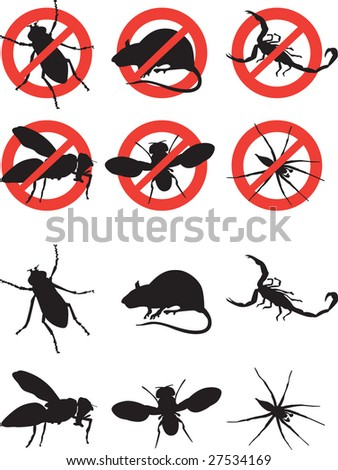 set of signs of rodents and pests