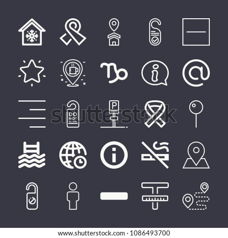 Set of 25 signs outline icons such as capricorn sign, man, pin, coffee, parking, knob, hotel, no smoking, substract, minus symbol, arroba, house, right alignment, text