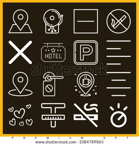 Set of 16 signs outline icons such as coffee, parking, knob, no smoking, close, substract, left alignment, center alignment, text, small hearts, alarm, hotel