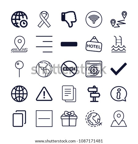 Set of 25 signs outline icons such as earth globe, thumb down, pin, world, no smoking, signal, danger, checked, substract, minus symbol, distance, coding, copy