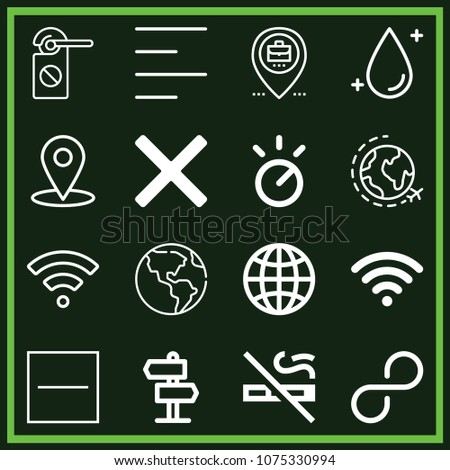 Set of 16 signs outline icons such as earth globe, wifi, worldwide, world, knob, no smoking, placeholder, signal, clean, substract, cancel, left alignment
