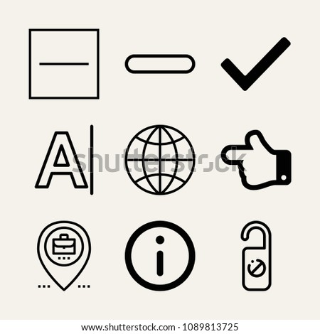 Set of 9 signs outline icons such as internet, hand pointing to left direction, hotel, checked, minus, substract, placeholder, font